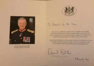 With appreciation from the Lord-Lieutenant of Cornwall
